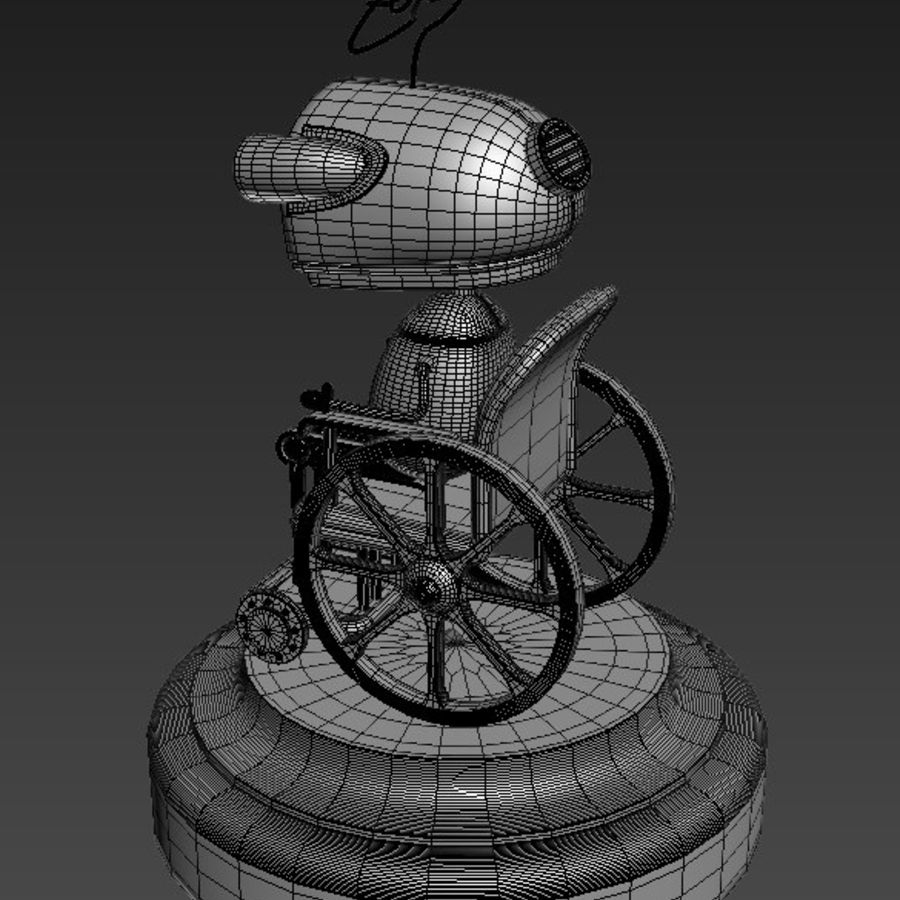 Grandmother Robot Machinarium royalty-free 3d model - Preview no. 6