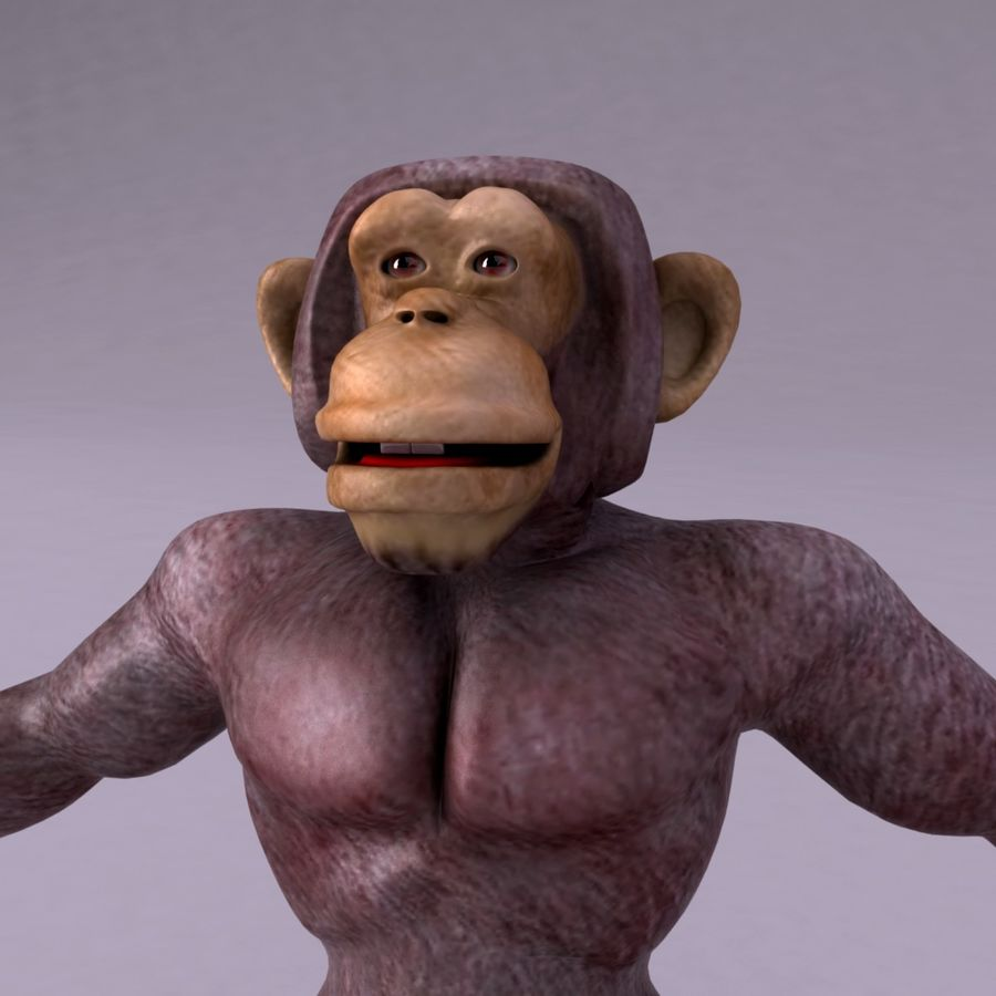 Cartoon Monkey royalty-free 3d model - Preview no. 6