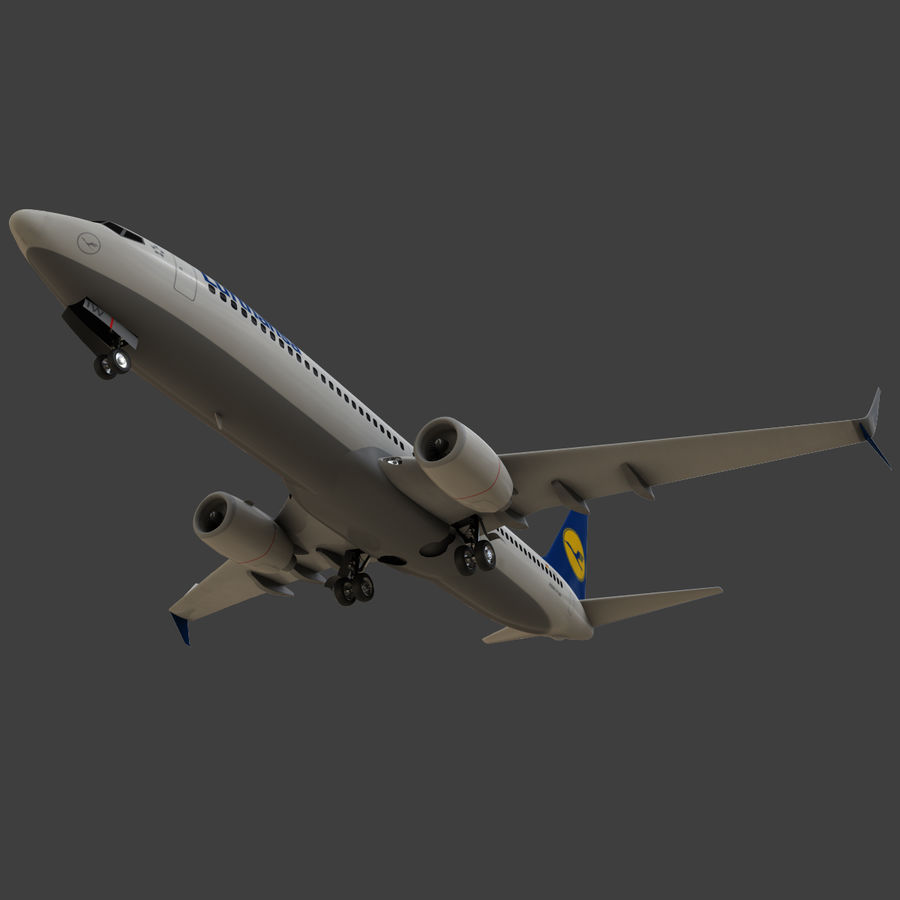 Lufthansa Boeing 737 800 royalty-free 3d model - Preview no. 24