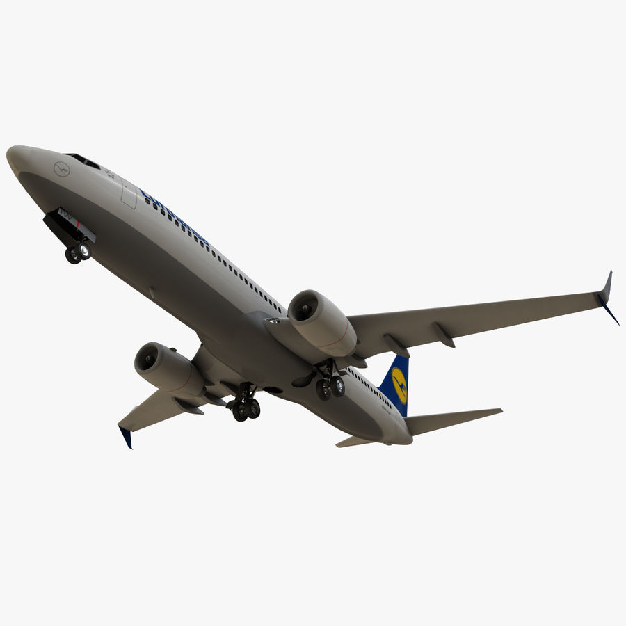 Lufthansa Boeing 737 800 royalty-free 3d model - Preview no. 11