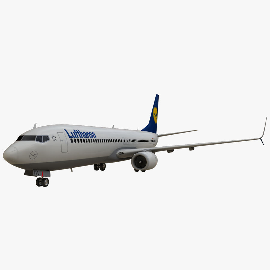 Lufthansa Boeing 737 800 royalty-free 3d model - Preview no. 2