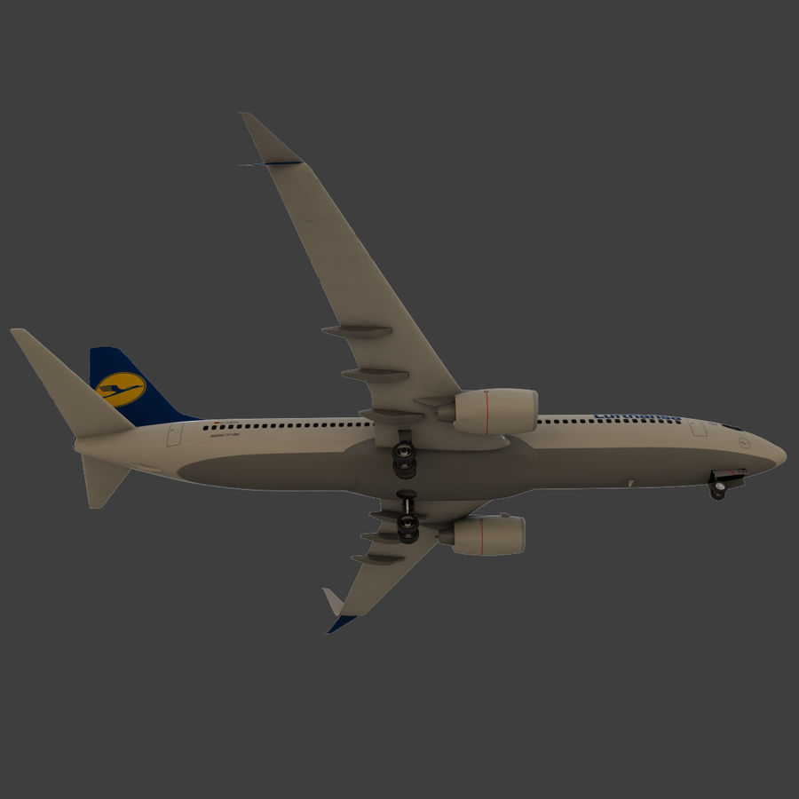Lufthansa Boeing 737 800 royalty-free 3d model - Preview no. 26