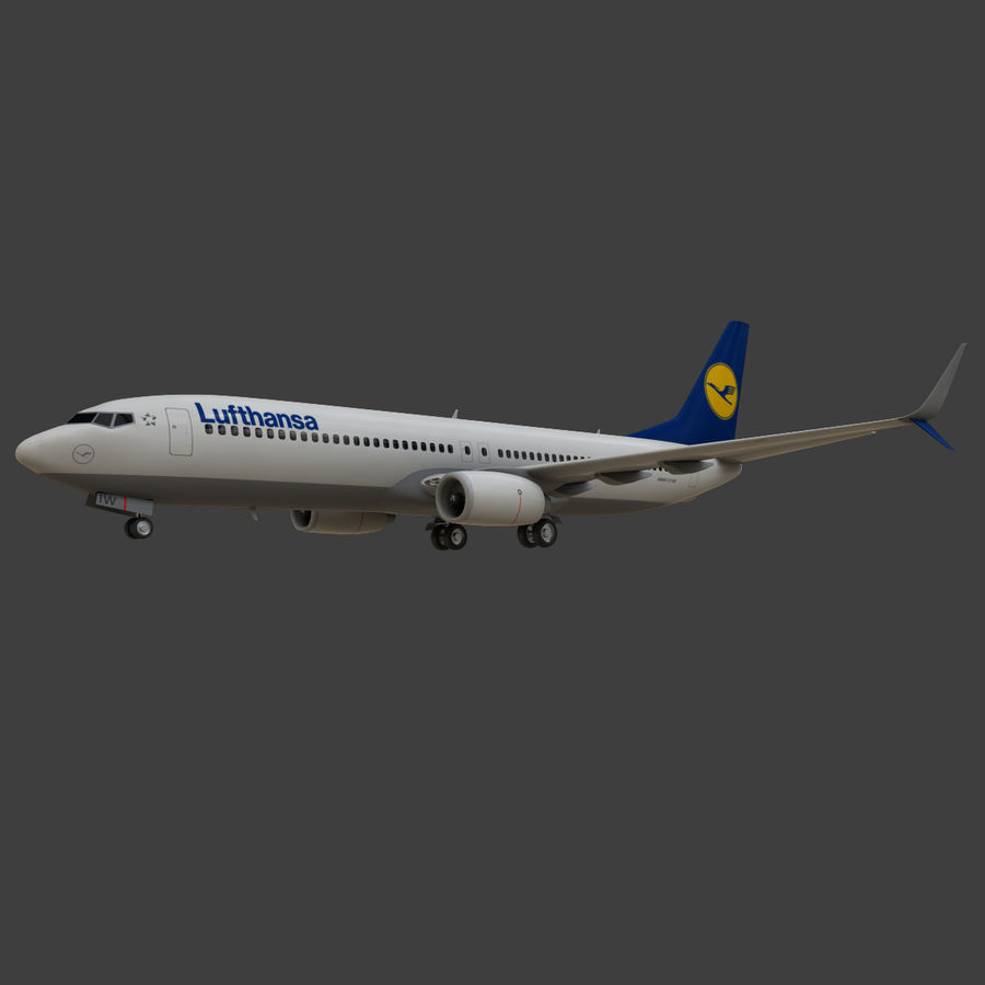 Lufthansa Boeing 737 800 royalty-free 3d model - Preview no. 17
