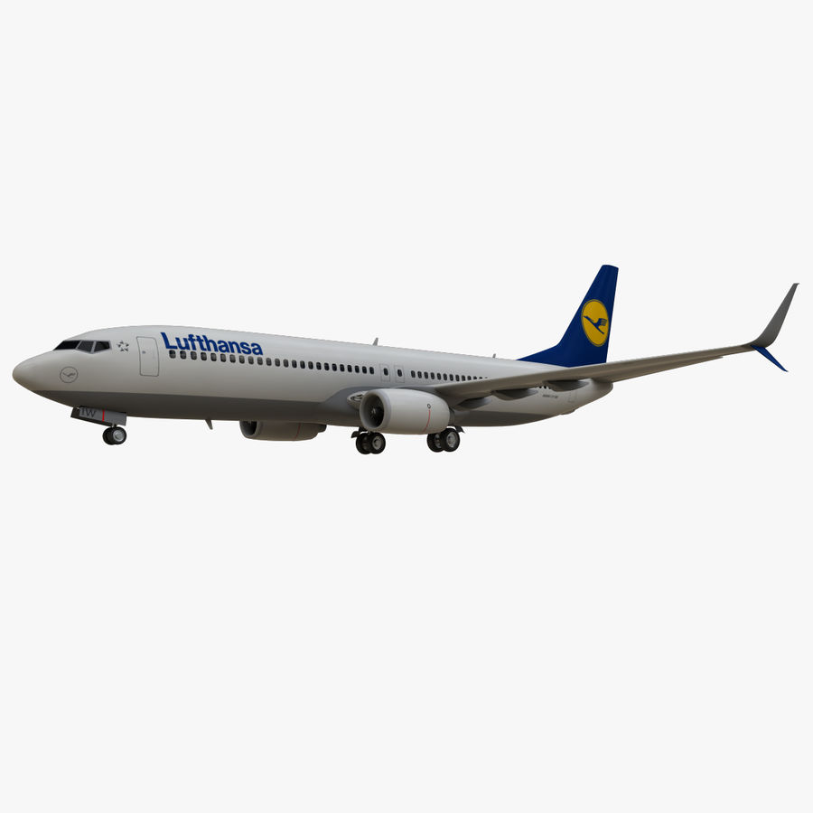 Lufthansa Boeing 737 800 royalty-free 3d model - Preview no. 4