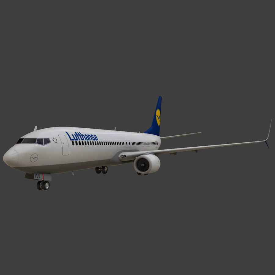 Lufthansa Boeing 737 800 royalty-free 3d model - Preview no. 15