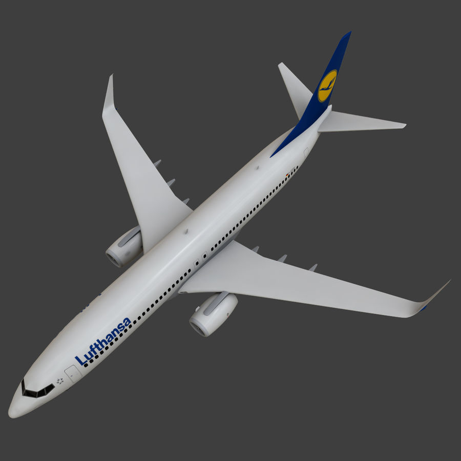 Lufthansa Boeing 737 800 royalty-free 3d model - Preview no. 25