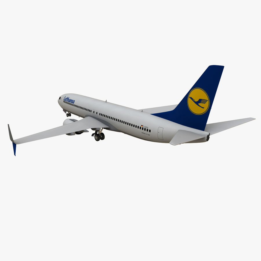 Lufthansa Boeing 737 800 royalty-free 3d model - Preview no. 5