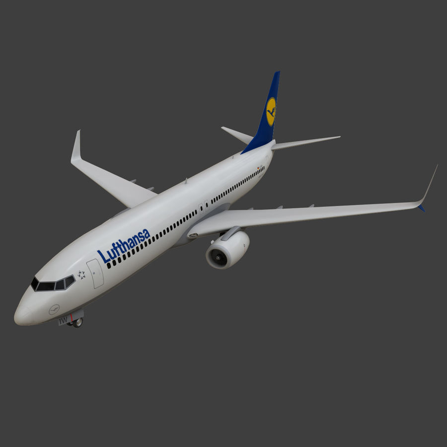 Lufthansa Boeing 737 800 royalty-free 3d model - Preview no. 14