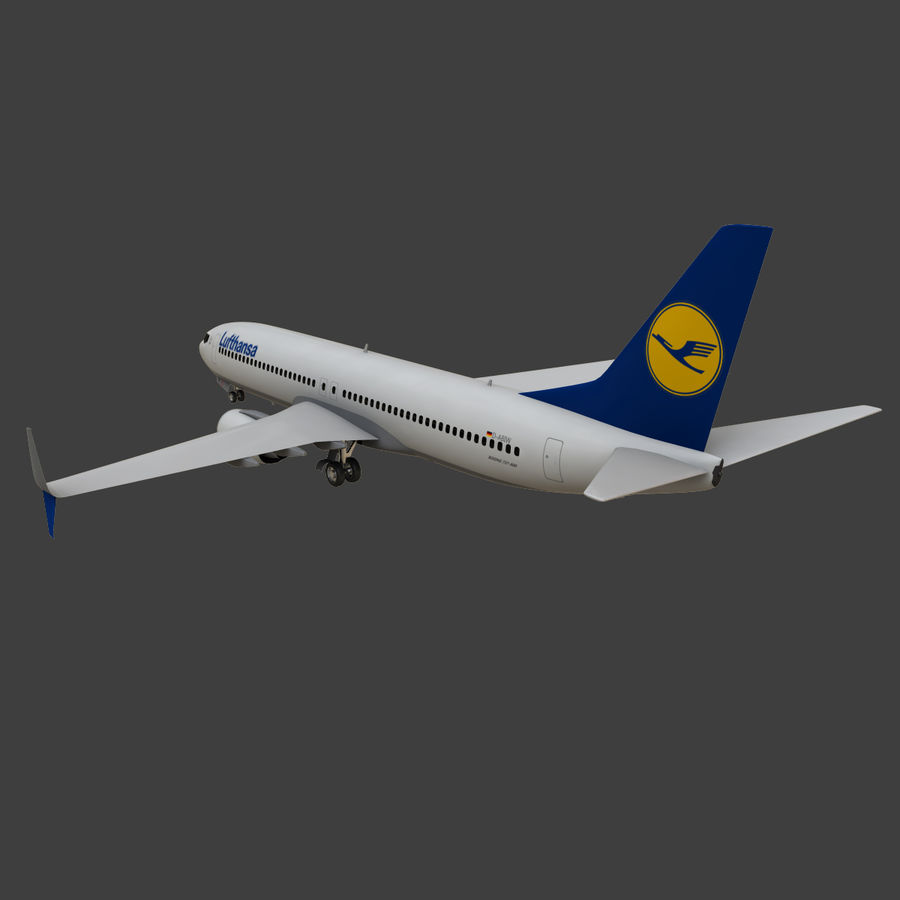 Lufthansa Boeing 737 800 royalty-free 3d model - Preview no. 18