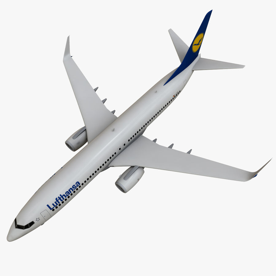 Lufthansa Boeing 737 800 royalty-free 3d model - Preview no. 12
