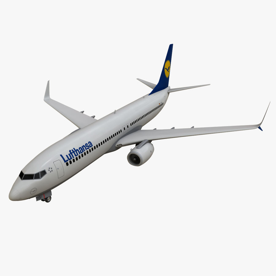 Lufthansa Boeing 737 800 royalty-free 3d model - Preview no. 1