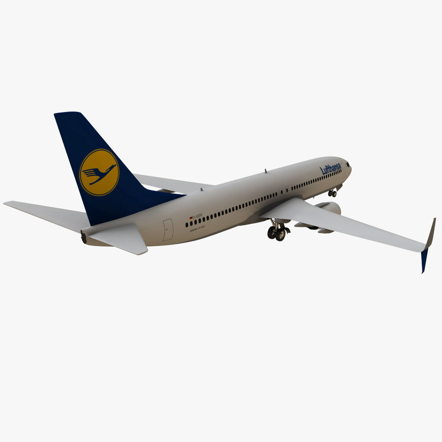 Lufthansa Boeing 737 800 royalty-free 3d model - Preview no. 6