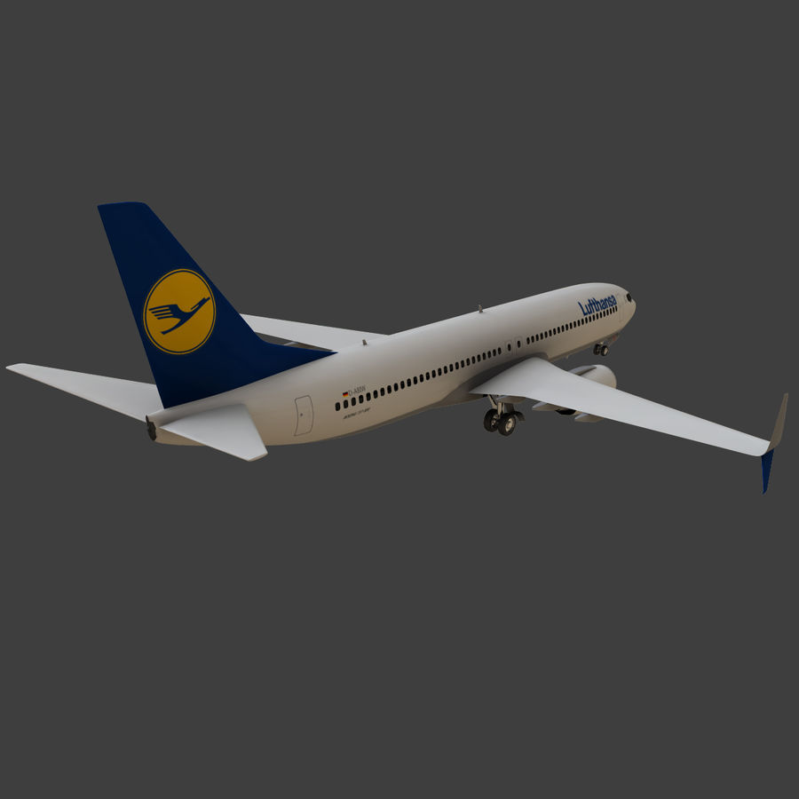 Lufthansa Boeing 737 800 royalty-free 3d model - Preview no. 19