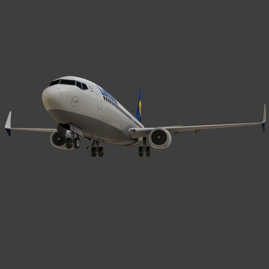 Lufthansa Boeing 737 800 royalty-free 3d model - Preview no. 16