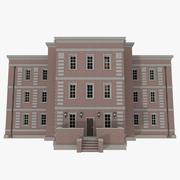 砖公寓一与内部纹理 3d model