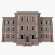 Brick apartment one with interior textured 3d model
