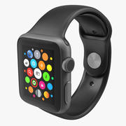 Apple Watch 38mm Fluoroelastomer Black Sport Band 2 3D模型 3d model