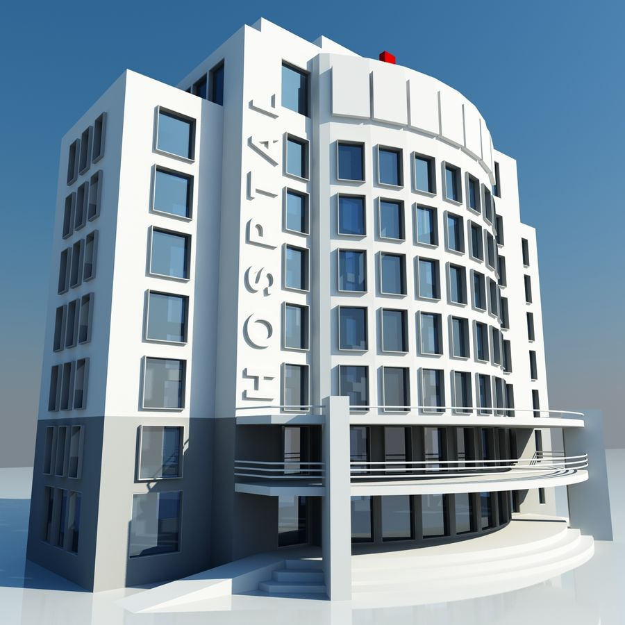 Hospital Building Symbol royalty-free 3d model - Preview no. 2