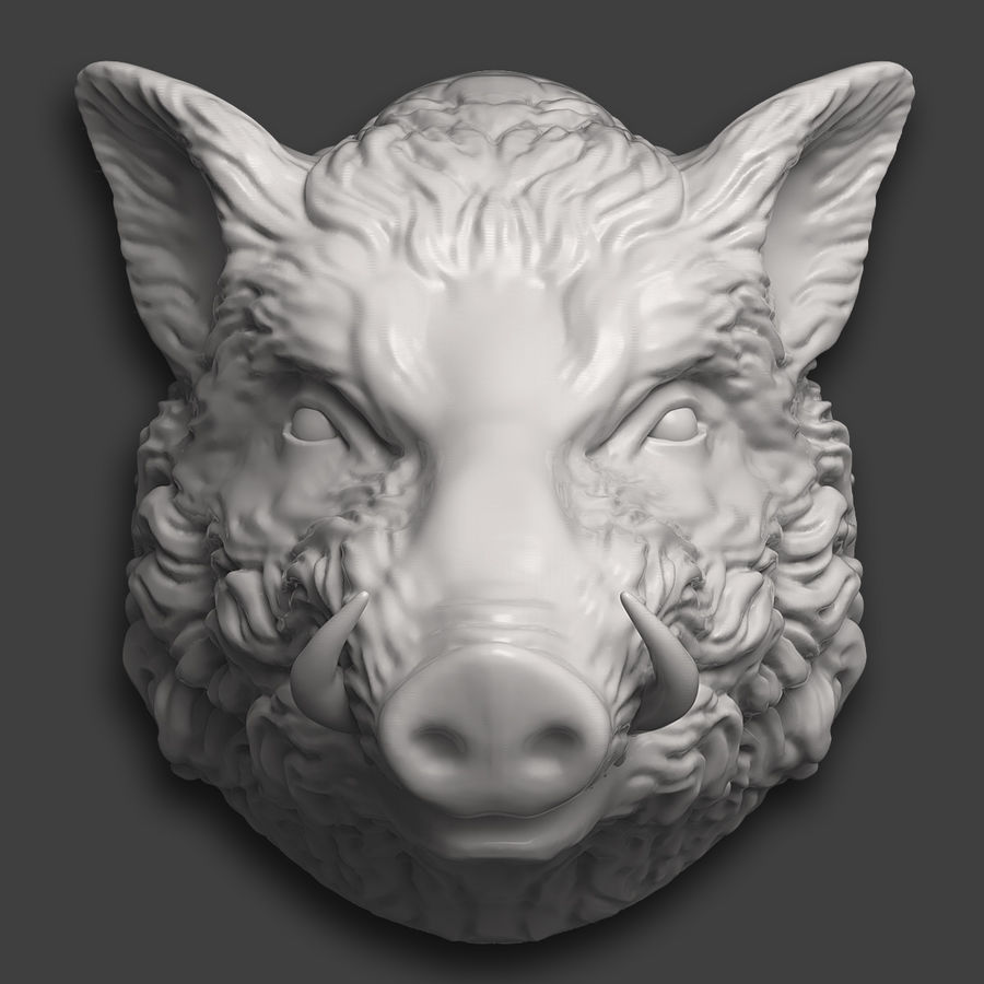 Eberkopf Skulptur royalty-free 3d model - Preview no. 2
