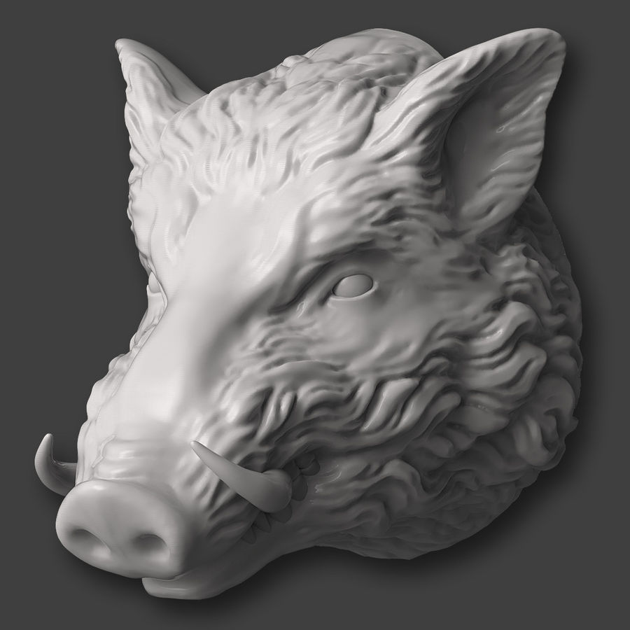 Eberkopf Skulptur royalty-free 3d model - Preview no. 3