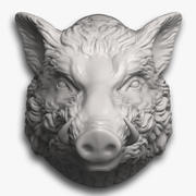 Boar Head Sculpture 3d model