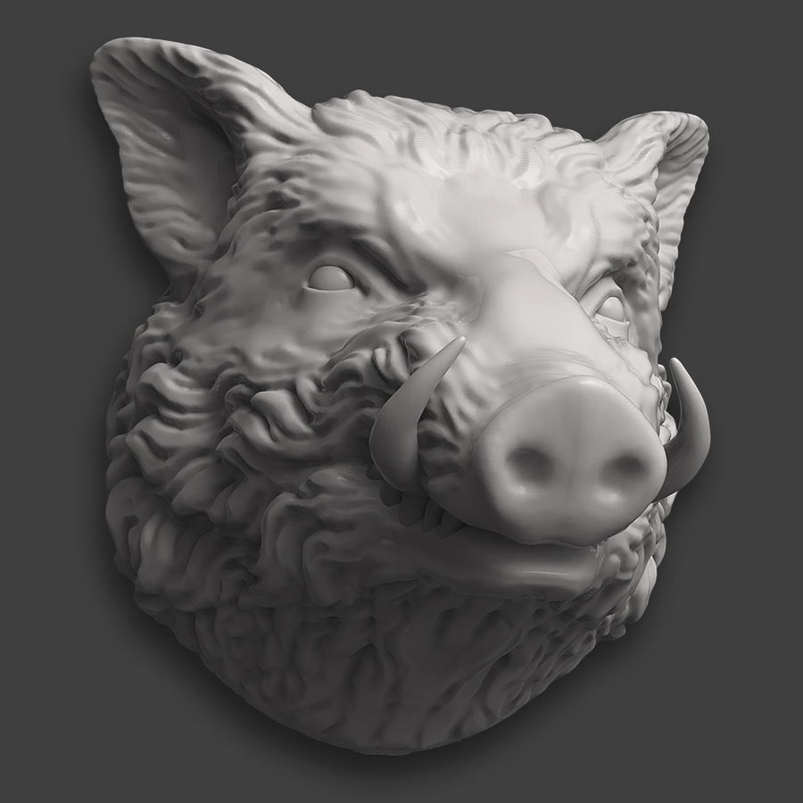 Eberkopf Skulptur royalty-free 3d model - Preview no. 6