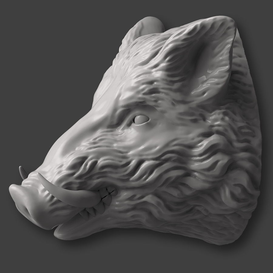 Eberkopf Skulptur royalty-free 3d model - Preview no. 4