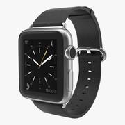 Apple Watch 38mm Classic Пряжка Черная кожа Нержавеющая сталь 2 3d model