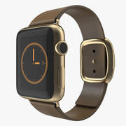 Apple Watch 38mm Gold Case with Brown Modern Buckle 2 3D Model 3d model