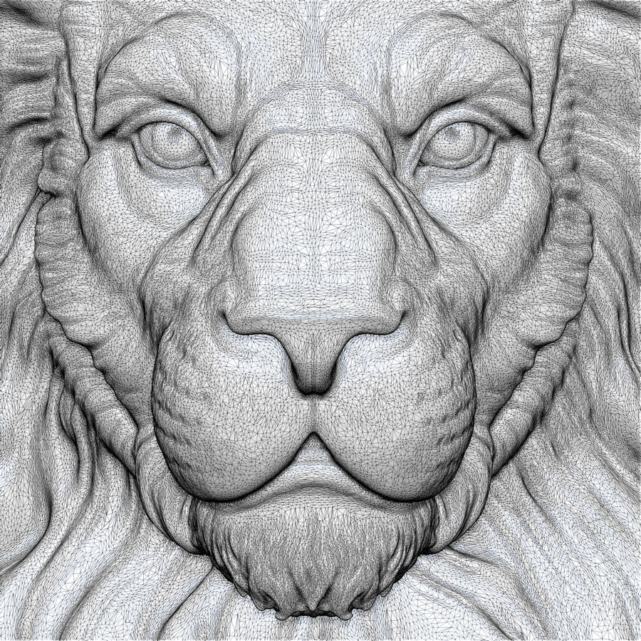 Lion Head Sculpture for 3d Printer royalty-free 3d model - Preview no. 15