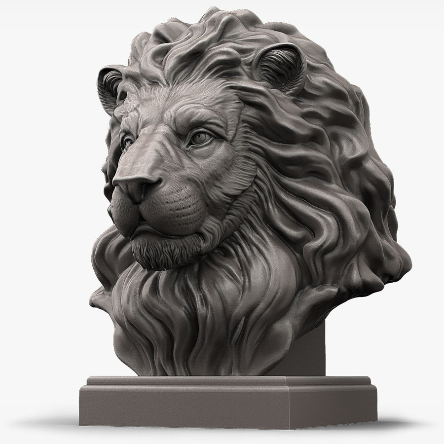 Lion Head Sculpture for 3d Printer royalty-free 3d model - Preview no. 1