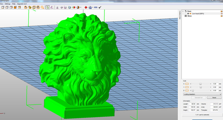 Lion Head Sculpture for 3d Printer royalty-free 3d model - Preview no. 12