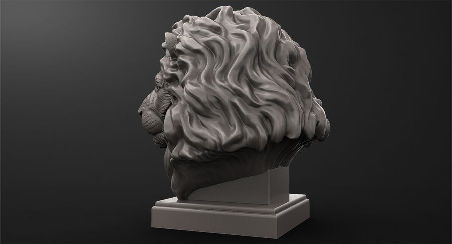 Lion Head Sculpture for 3d Printer royalty-free 3d model - Preview no. 6