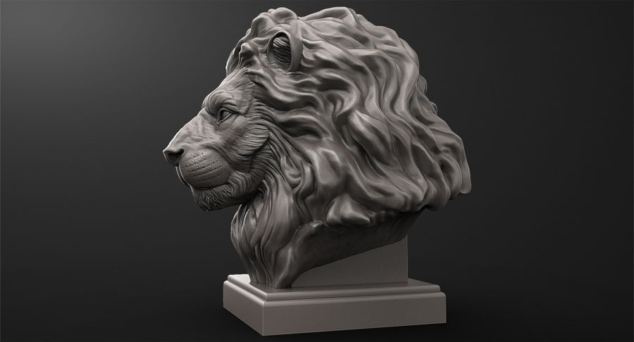 Lion Head Sculpture for 3d Printer royalty-free 3d model - Preview no. 5