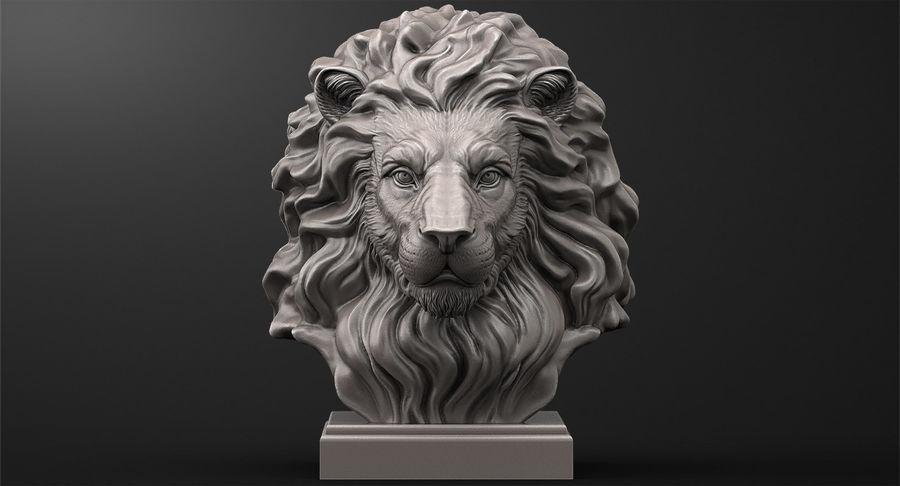 Lion Head Sculpture per stampante 3d royalty-free 3d model - Preview no. 3