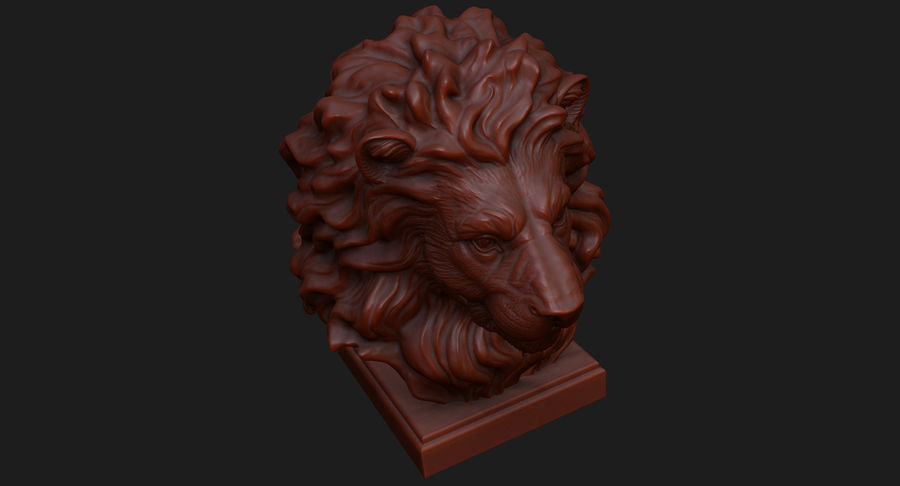 Lion Head Sculpture for 3d Printer royalty-free 3d model - Preview no. 11