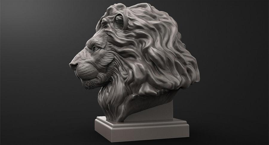 Lion Head Sculpture per stampante 3d royalty-free 3d model - Preview no. 5