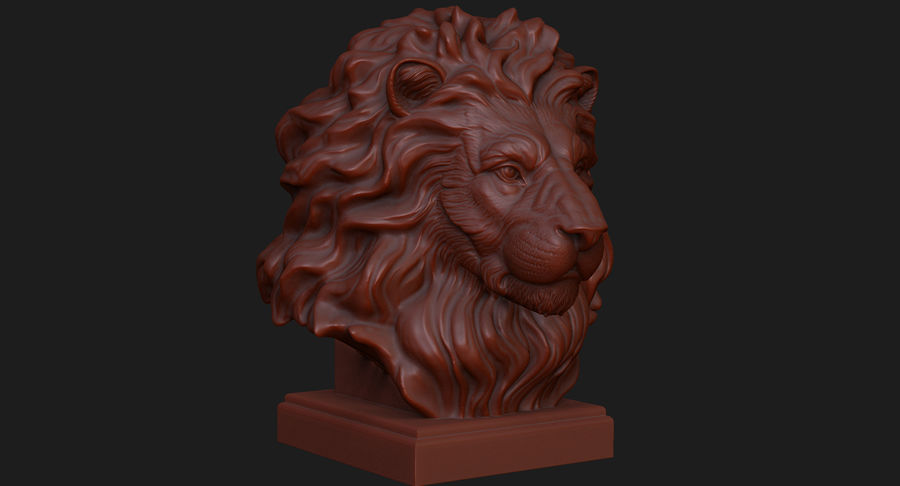 Lion Head Sculpture for 3d Printer royalty-free 3d model - Preview no. 10