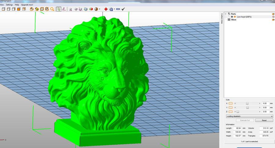 Lion Head Sculpture per stampante 3d royalty-free 3d model - Preview no. 12
