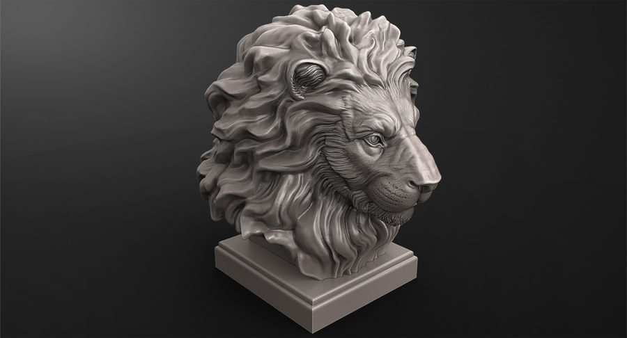 Lion Head Sculpture for 3d Printer royalty-free 3d model - Preview no. 7