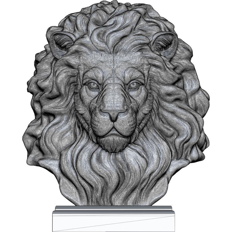 Lion Head Sculpture per stampante 3d royalty-free 3d model - Preview no. 13