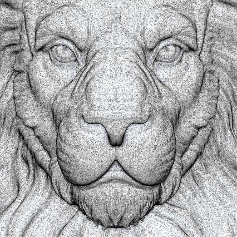 Lion Head Sculpture per stampante 3d royalty-free 3d model - Preview no. 15