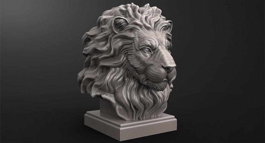 Lion Head Sculpture per stampante 3d royalty-free 3d model - Preview no. 8