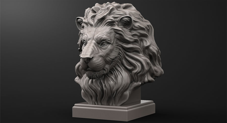 Lion Head Sculpture for 3d Printer royalty-free 3d model - Preview no. 4