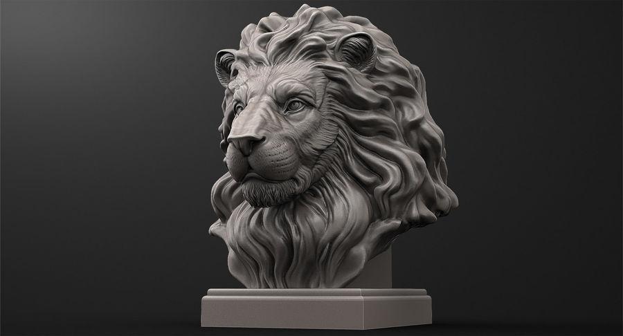 Lion Head Sculpture per stampante 3d royalty-free 3d model - Preview no. 2