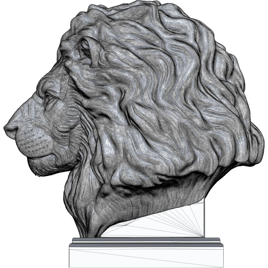 Lion Head Sculpture for 3d Printer royalty-free 3d model - Preview no. 14