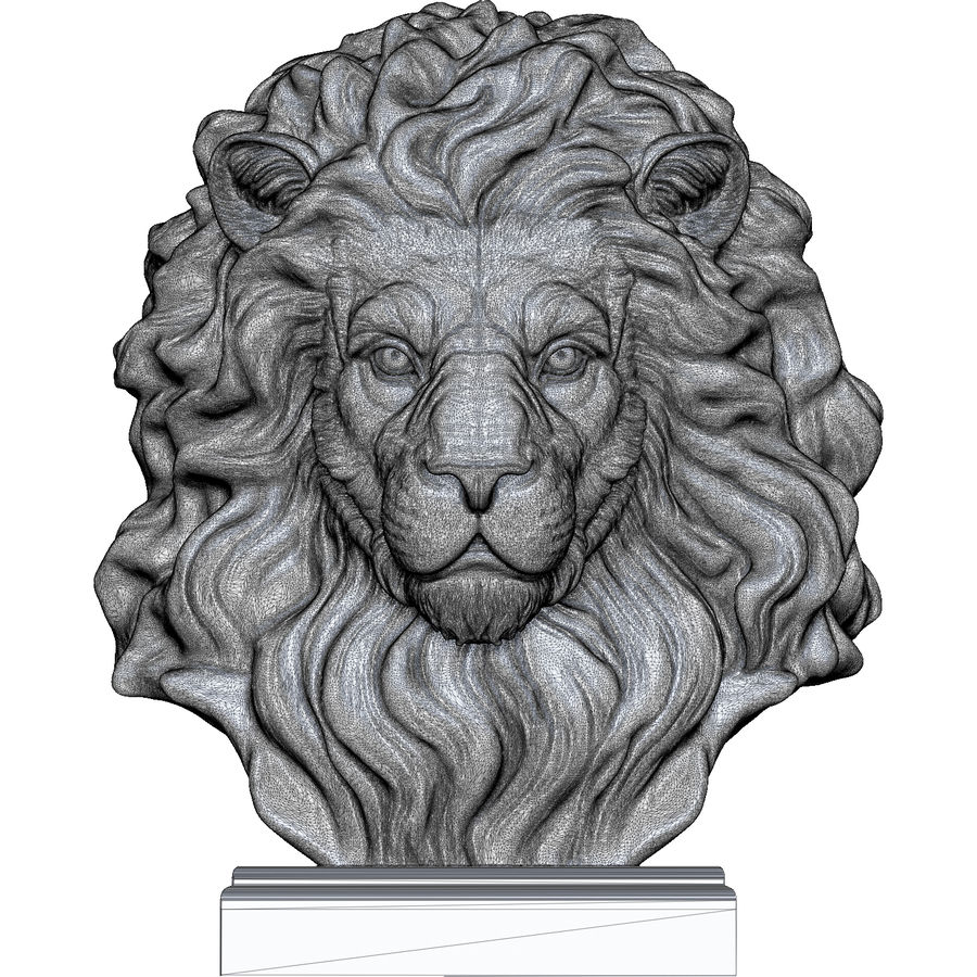 Lion Head Sculpture for 3d Printer royalty-free 3d model - Preview no. 13