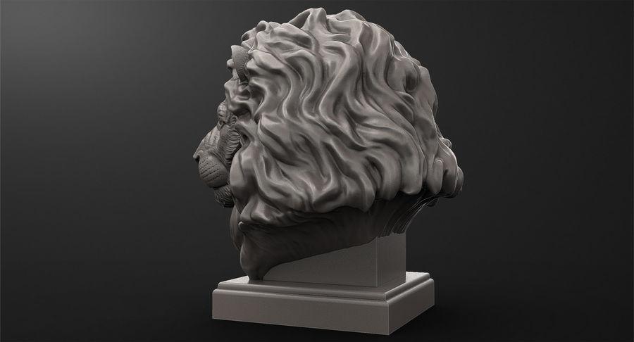 Lion Head Sculpture per stampante 3d royalty-free 3d model - Preview no. 6