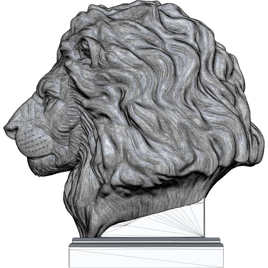 Lion Head Sculpture per stampante 3d royalty-free 3d model - Preview no. 14
