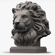 Lion Head Sculpture voor 3d-printer 3d model